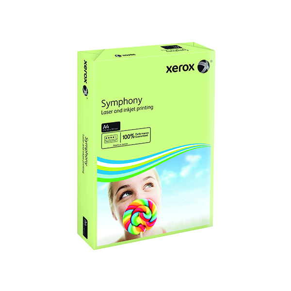 Single Colour Xerox Symphony Pastel Green A4 160gsm Card (250 Pack) XX93226