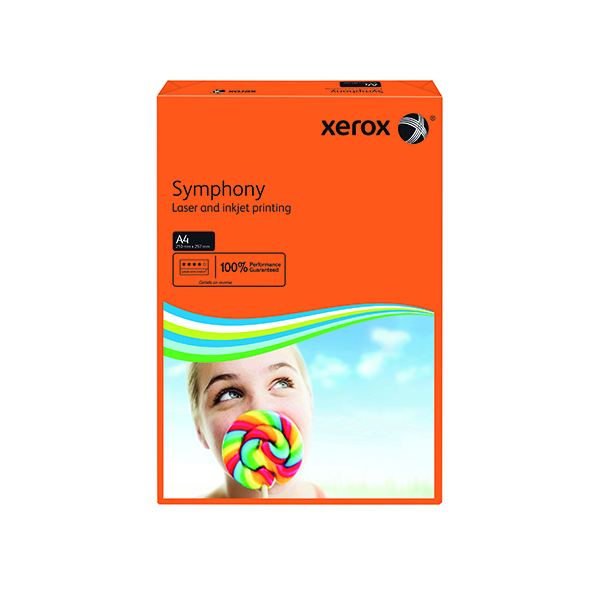 Colour 80gsm Xerox Symphony 80gsm Deep Tints Orange A4 Paper Ream (500 Pack) 003R93953