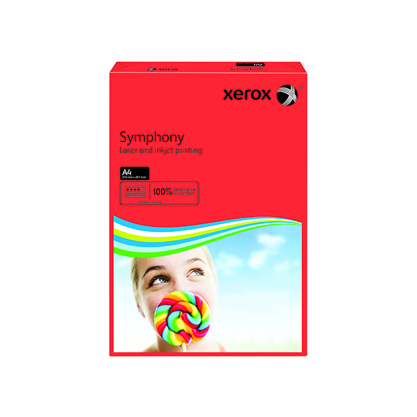 Colour 80gsm Xerox Symphony Dark Red A4 80gsm Paper (500 Pack) XX93954