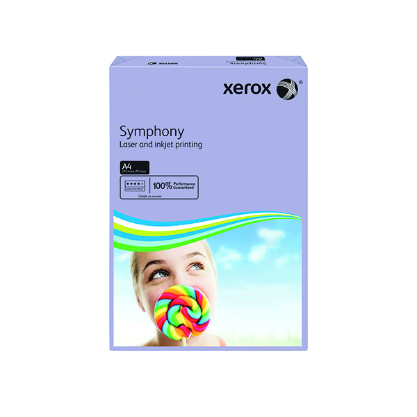 Colour 80gsm Xerox Symphony 80gsm Medium Tints Lilac A4 Paper Ream (500 Pack) 003R93969